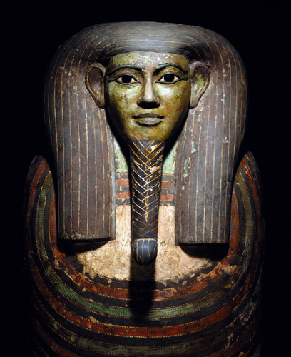 Ancient Egypt, Late Kingdom, Dynasty XXV, Coffin of Horankh, close-up of head, ca 700 BCE.
