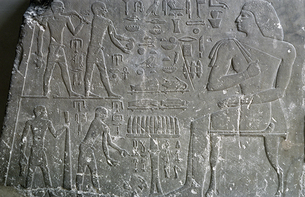 Ancient Egypt, Old Kingdom, Tomb relief fragment of Nefer receiving offerings, from his tomb in Saqqara, ca. 2431–2420 BCE.