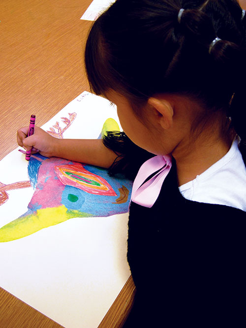 elementary art student coloring