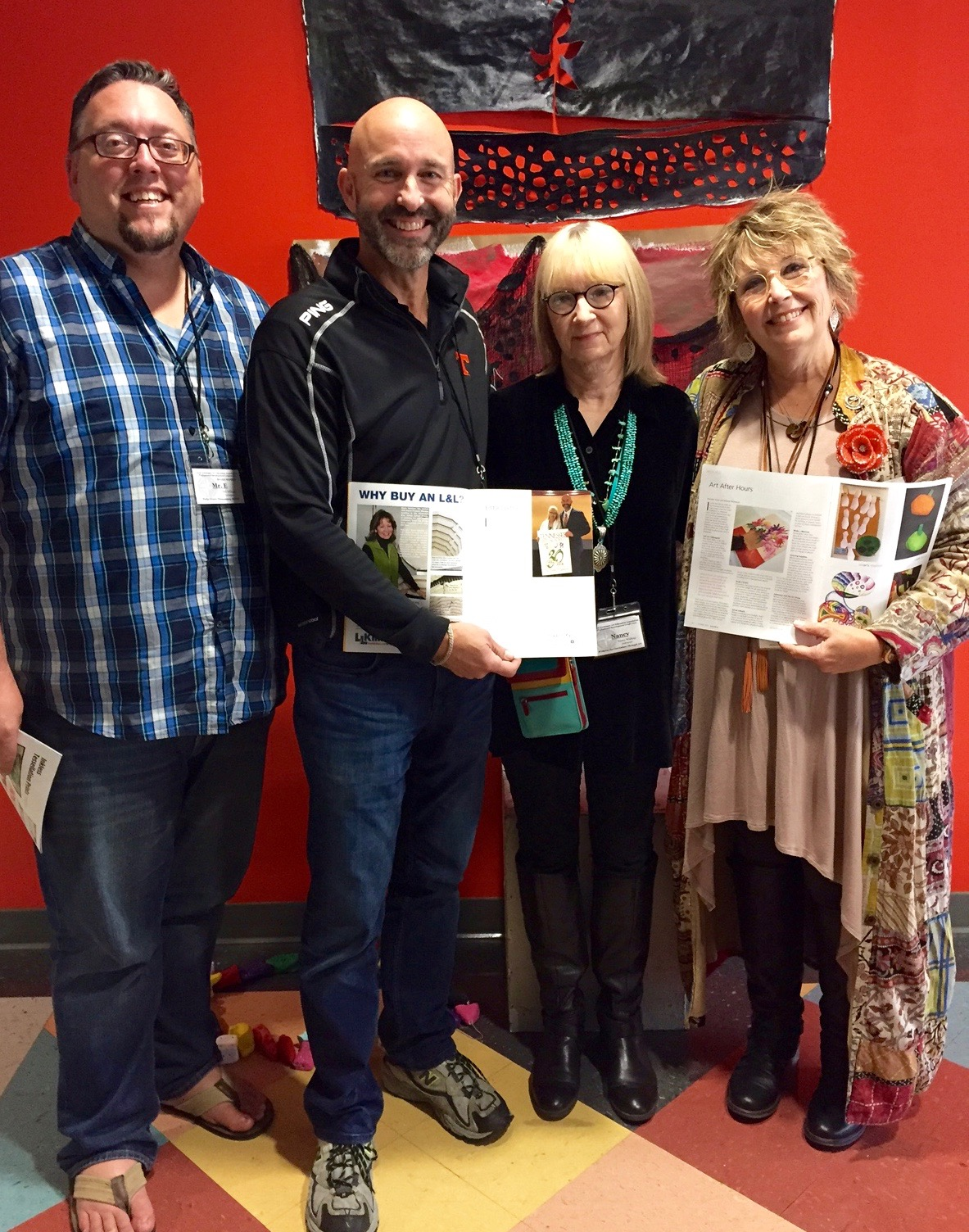SchoolArts authors Ted Edinger, Jim Dodson, and Melody Weintraub pose with Nancy and their published articles at the Tennessee Art Education Association conference.