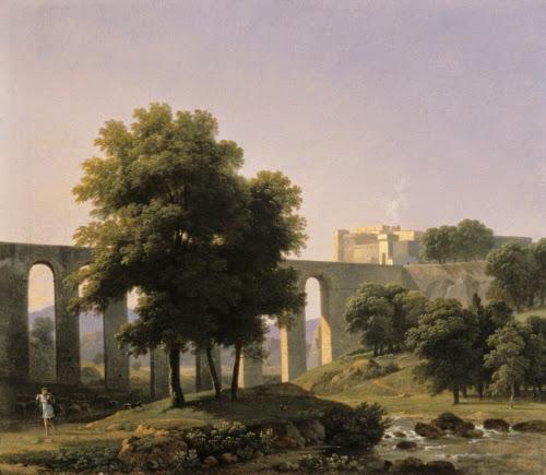 Jean-Victor Bertin (1767–1842,France), An Aqueduct Near a Fortress, 1807.
