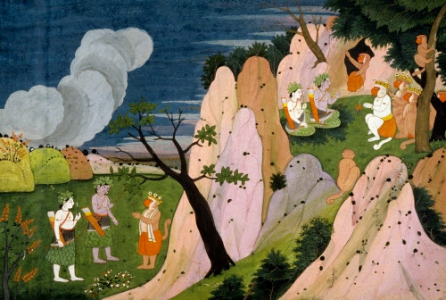 India, Surgiva Takes Rama to the Mountain Cave where Sita's Jewels are Kept, illustration from a Ramayana (Tales of Rama), from Kangra (?), Himachal Pradesh, ca. 1820.