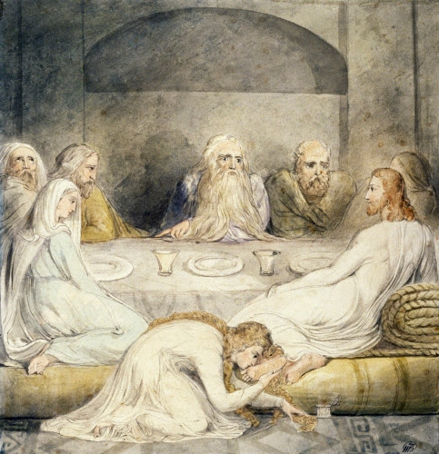 William Blake (1757–1827,Britain), Mary Magdalen Washing Christ's Feet, from a series on The Life of Christ, ca. 1805.