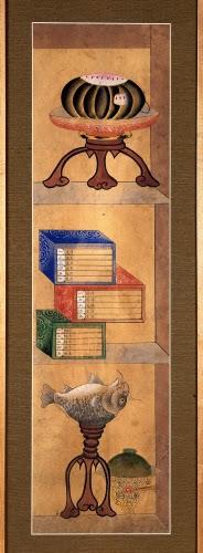 Korea, Bookshelf, panel from a Chaekgado screen, 1850s.