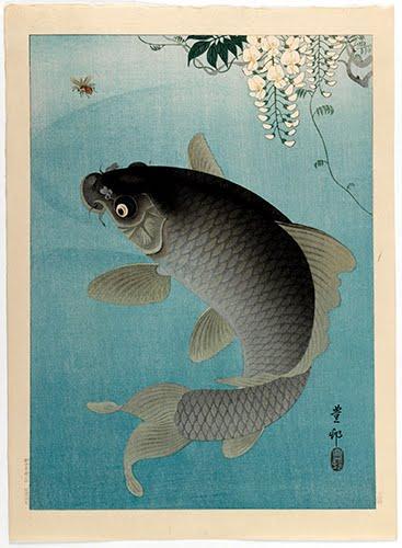 Ohara Shoson(1875–1949),Carp Beneath Wisteria, ca. 1935.