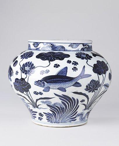 China, Wine jar with carp and aquatic plant motif, 1300s.