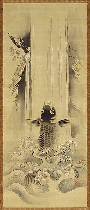 Kanō Tanshin Morimasa(1653–1718),Carp Ascending a Waterfall, 1668.