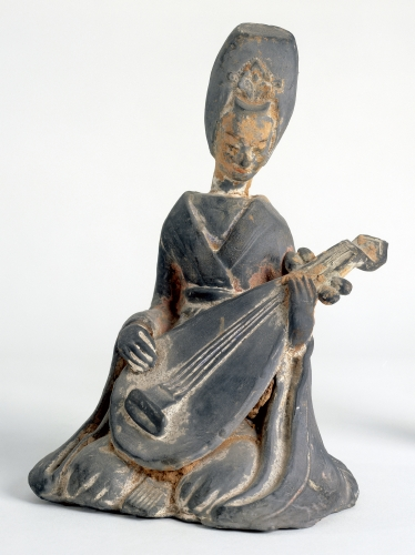China, Seated Musician, tomb figurine, ca. 500–550 CE.
