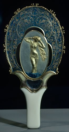 Félix Bracquemond (1833–1914 France), and  Auguste Rodin (1840–1917 France), Hand mirror with relief (Rodin) of Venus Rising from the Seafoam, ca. 1900.