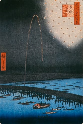 Utagawa Hiroshige I (1797–1858, Japan), Fireworks at Ryogoku (bridge), #98 from the One Hundred Famous Views of Edo series,1858.