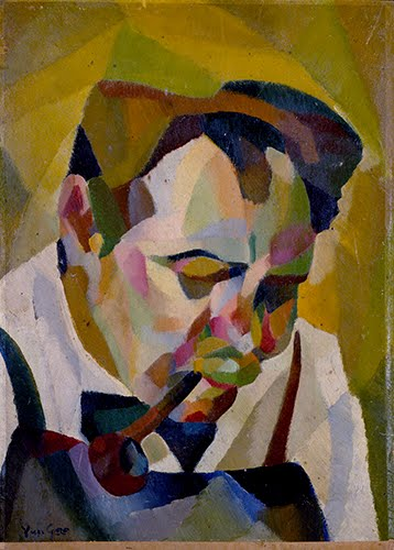 Yun Gee,Man with a Pipe (Head of a Man), 1926–1927.