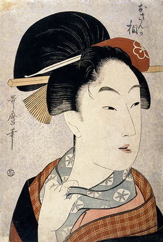 "Kitagawa Utamaro (1753–1806, Japan), Portrait of an Escort as the Heroine ""Osan"" from the play ""The Almanac-Maker's Tale,"" from the series Four Busts of Dramatic Heroines, ca. 1798."