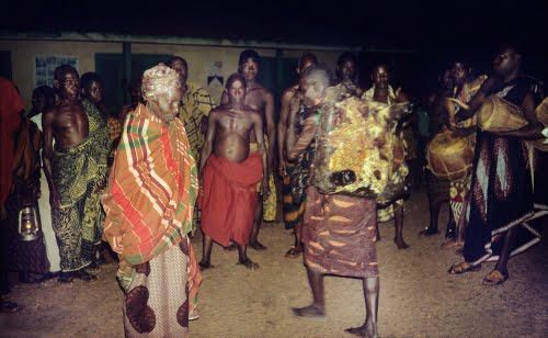 Asante People, Ghana, Queen Mother dancing with state stool at Yam Festival, August 1971