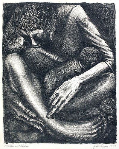 John Biggers (1924–2001, US), Mother and Children, 1952.