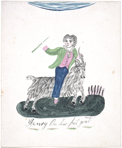 Mary Ann Willson (active ca. 1800–1825, US), Henry on His Pet Goat.
