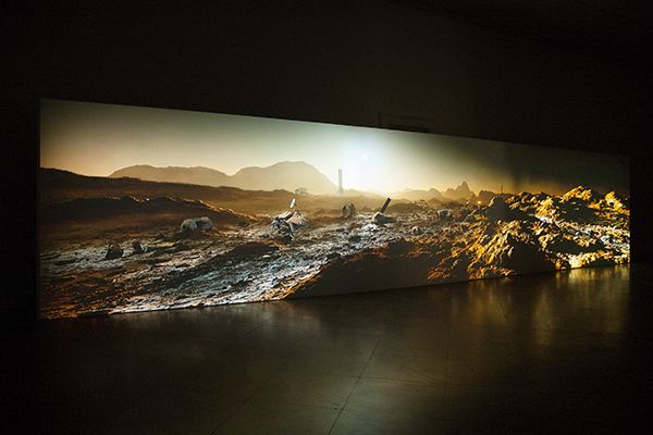Kelly Richardson (born 1972, Canada), Mariner 9, 2012. Video installation of Mars landscape with rovers and mission debris.