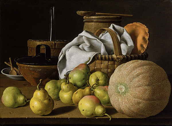 Painting by Luis Meléndez titled Still Life with Melon and Pears (ca. 1770). Pears, cantaloupe, basket, and containers on a ledge.