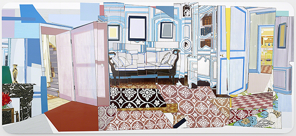 Mickalene Thomas (born 1971, US), Interior: Monet's Blue Foyer, 2012.