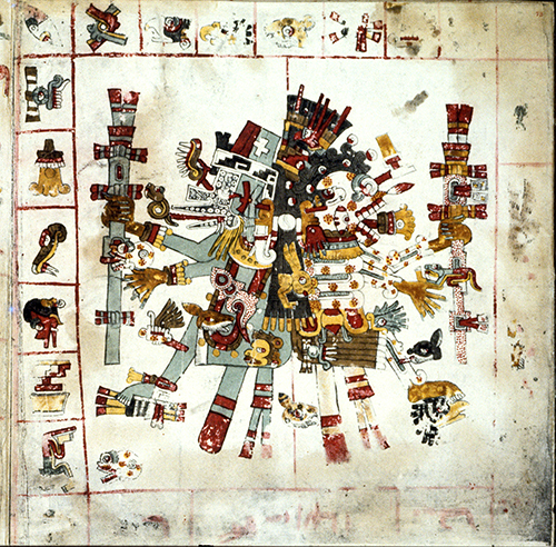 Mixtec Culture, Quetzalcoatl (left, the life god) and Mistlantecuhtli (right, the death god), surrounded by symbols of 26 days and 20 day signs, page 69 from the Borgia Codex, ca. 1400 CE.