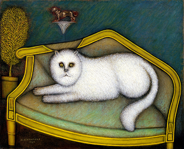 Oil painting by Morris Hirshfield titled Angora Cat (1937/1939). White cat on a green and gold chair with teal wall, bronze cat statue, and golden tree.
