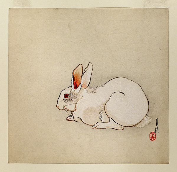 Color wood block print by Ogata Gekkō titled White Rabbit (ca. 1890–1910). White rabbit with red eye on beige background.