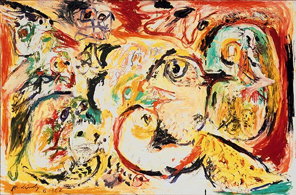 Oil painting by Pierre Alechinksy titled Greet the North, Greet the South (1962). Painting with abstract figures and brush work in yellow, red, greed, black, and white.
