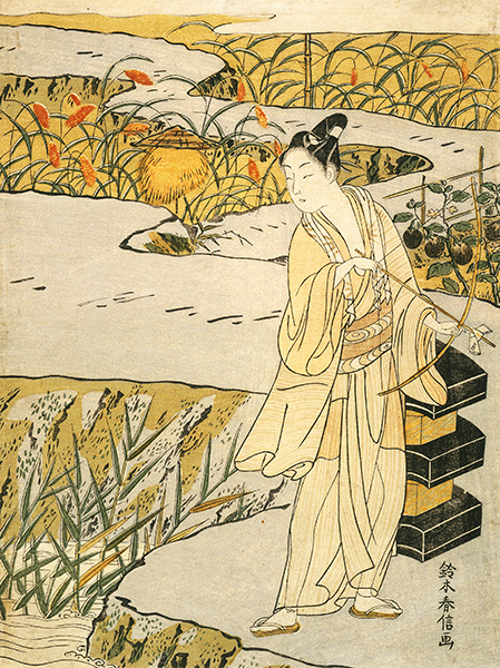 Harunobu Suzuki (1724–1770, Japan), Youth About to Send a Love Letter by Arrow, ca. 1768.