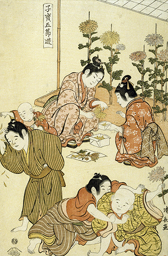 Torii Kiyonaga (1752–1815, Japan), Children at the Chrysanthemum Festival, from the series Precious Children of the Five Festivals, ca. 1795.