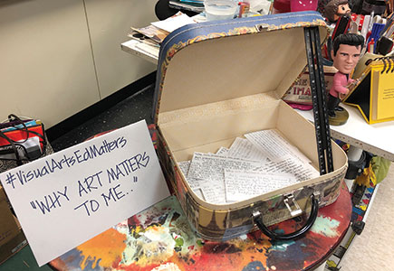 An embellished suitcase contains students' Why Art Matters to Me cards.