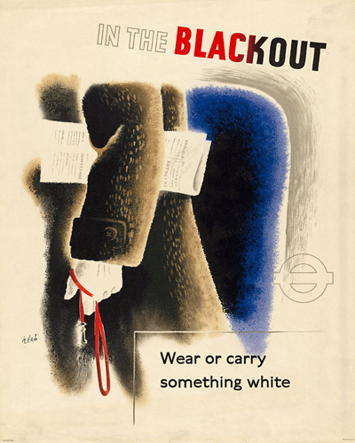 Zero (Hans Schleger) (1898–1976, Germany/Britain), Poster: In the Blackout, Wear or Carry Something White, 1943.