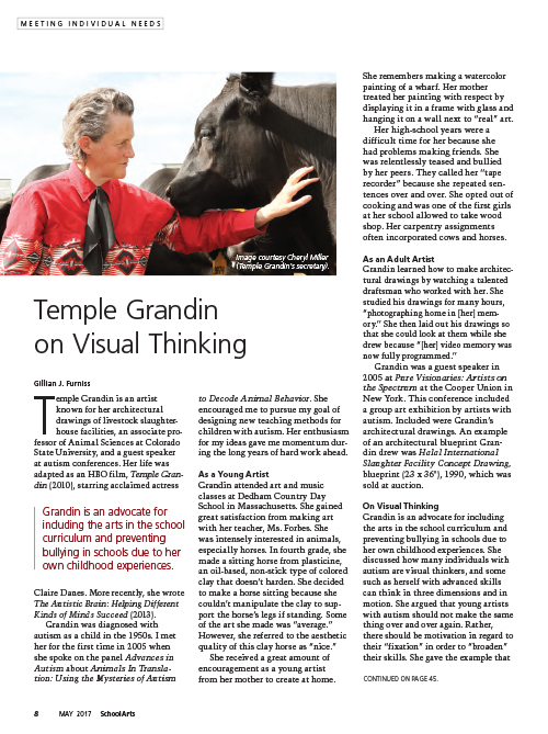 Autism Acceptance Month, Temple Grandin on Visual Thinking, SchoolArts magazine article
