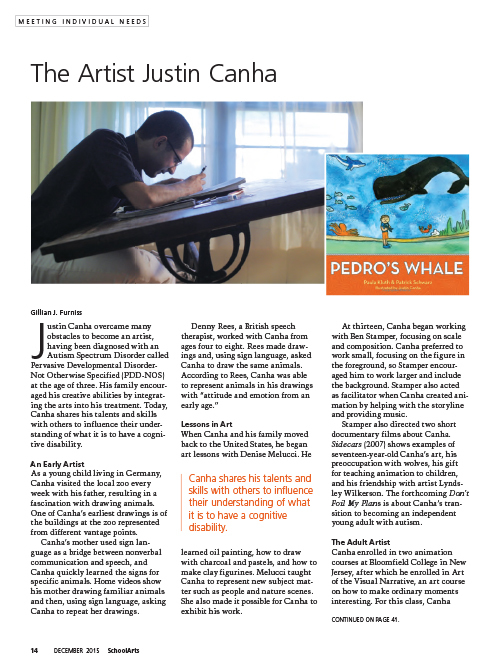 Autism Acceptance Month, The Artist Justin Canha, SchoolArts magazine article